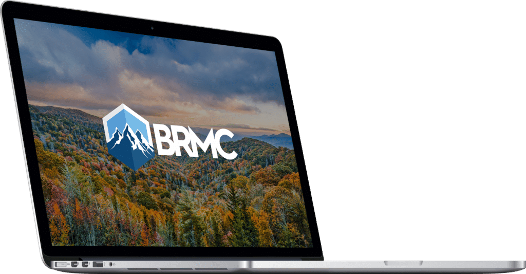 Macbook with BRMC logo on screen