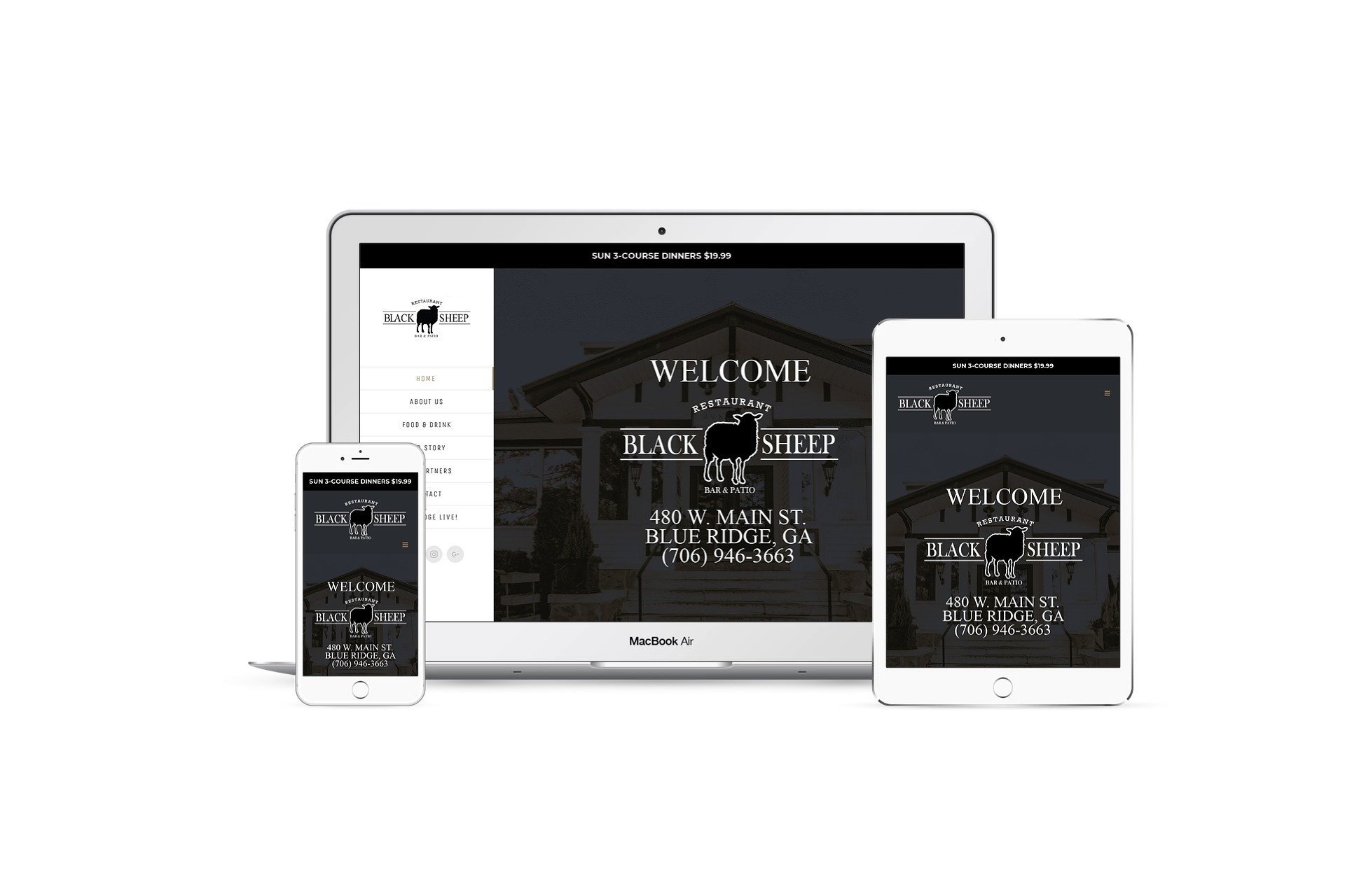 Black Sheep Blue Ridge - home page on multiple screen