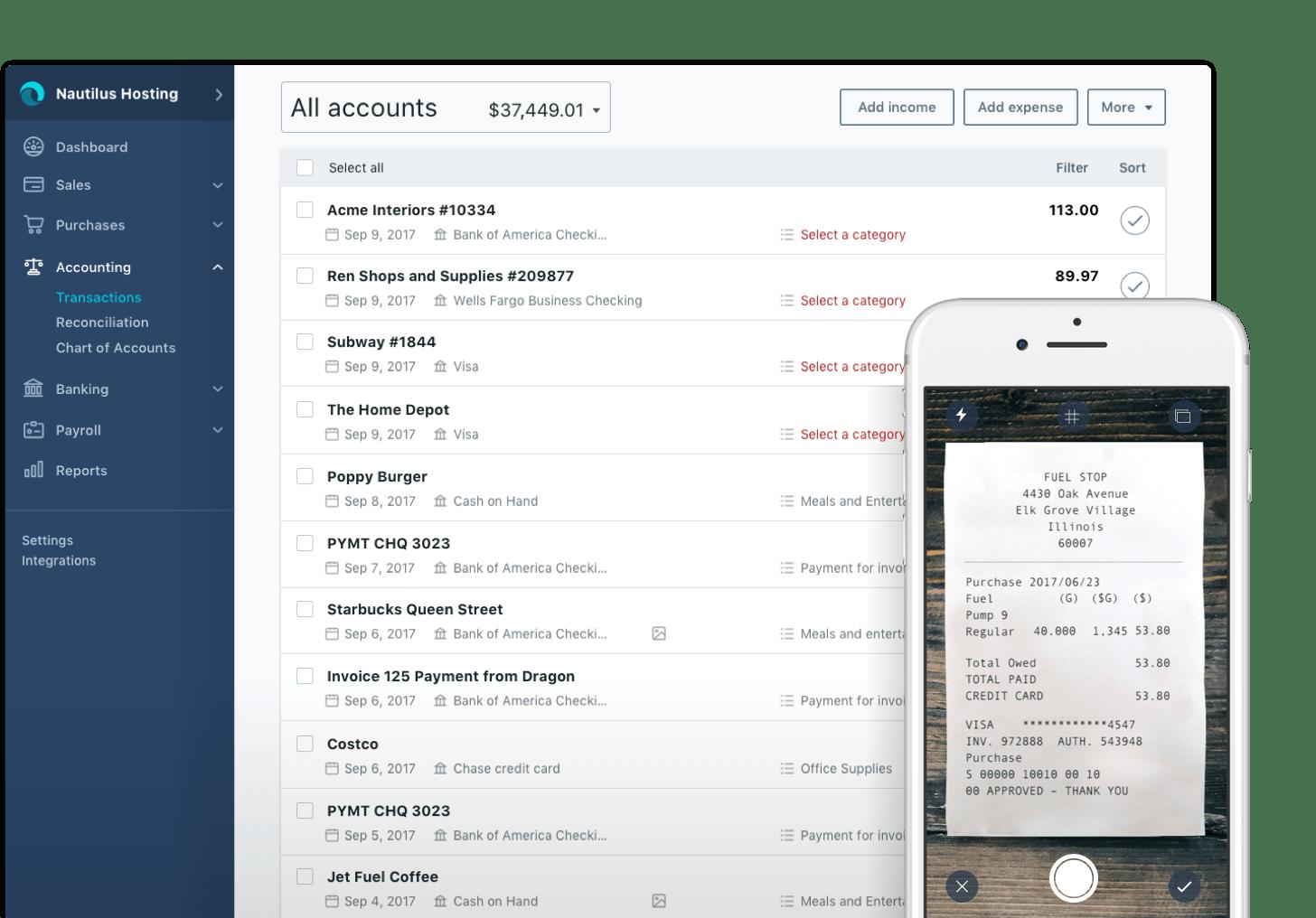 Wave Accounting sheet screenshot