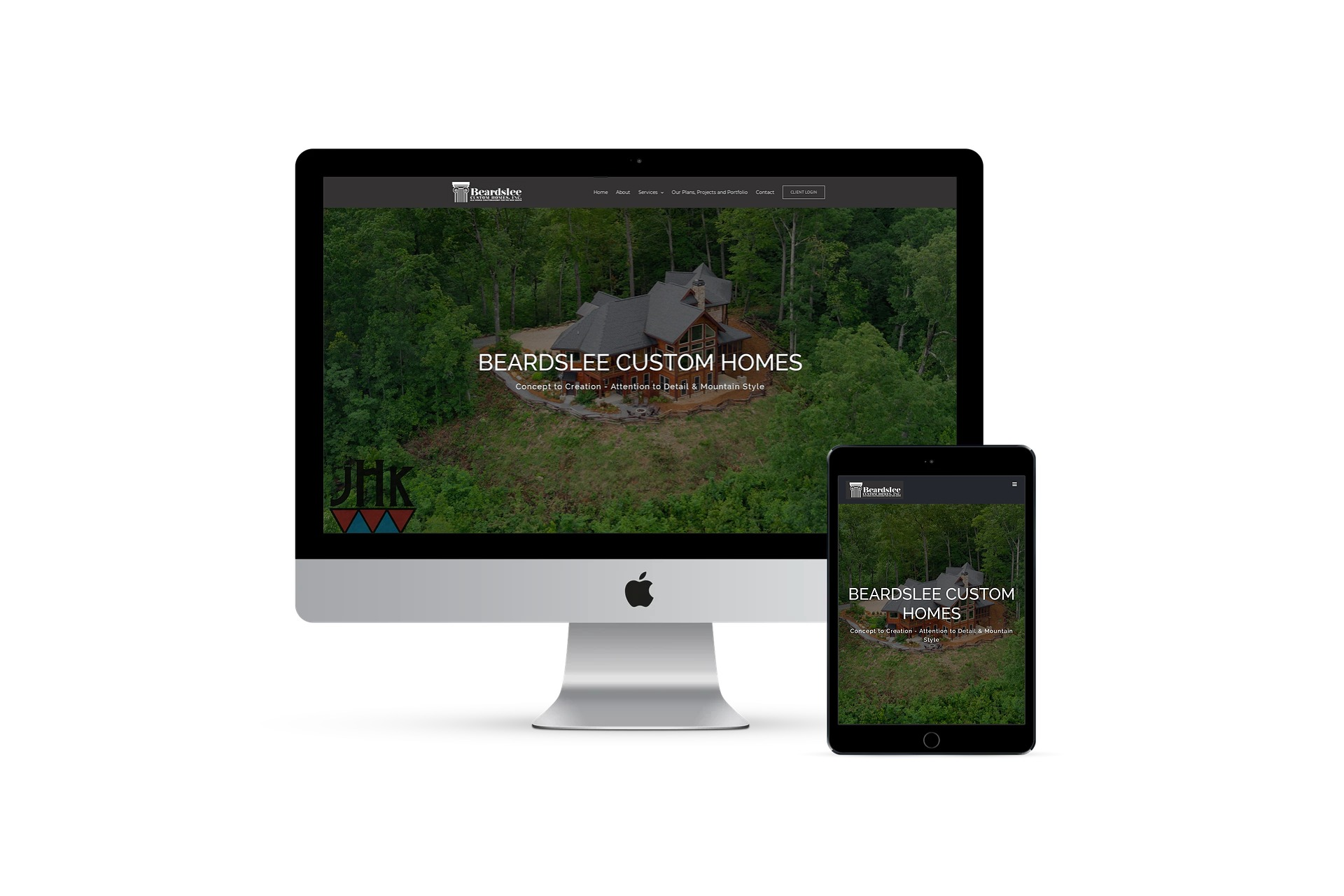 Beard Lee custom homes - - home page on multiple screen