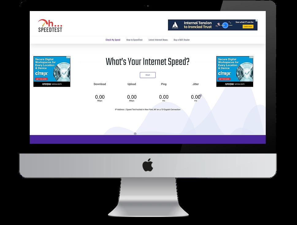 Speedtest home screen