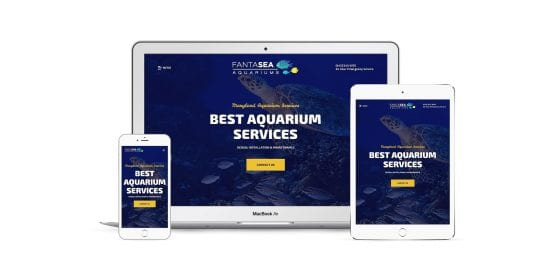 Fantasea Aquariums - home page on multiple screen