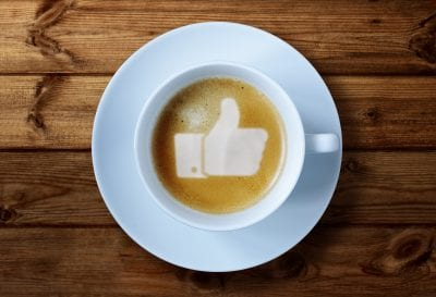 Facebook Thumbs up sign in coffee froth