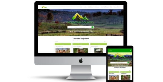 Mountain Country Real Estate - home page on multiple screen