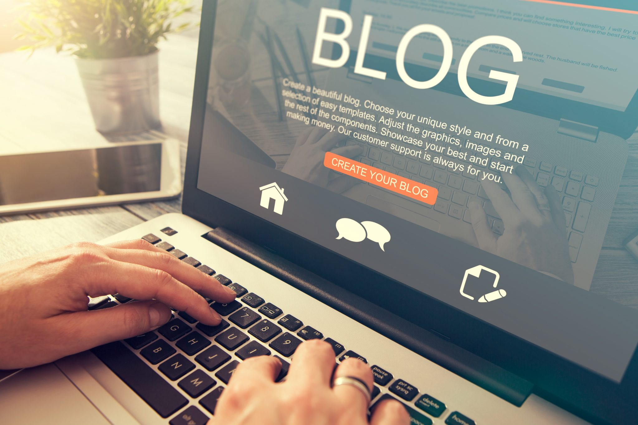 Blogging blog word coder coding using laptop