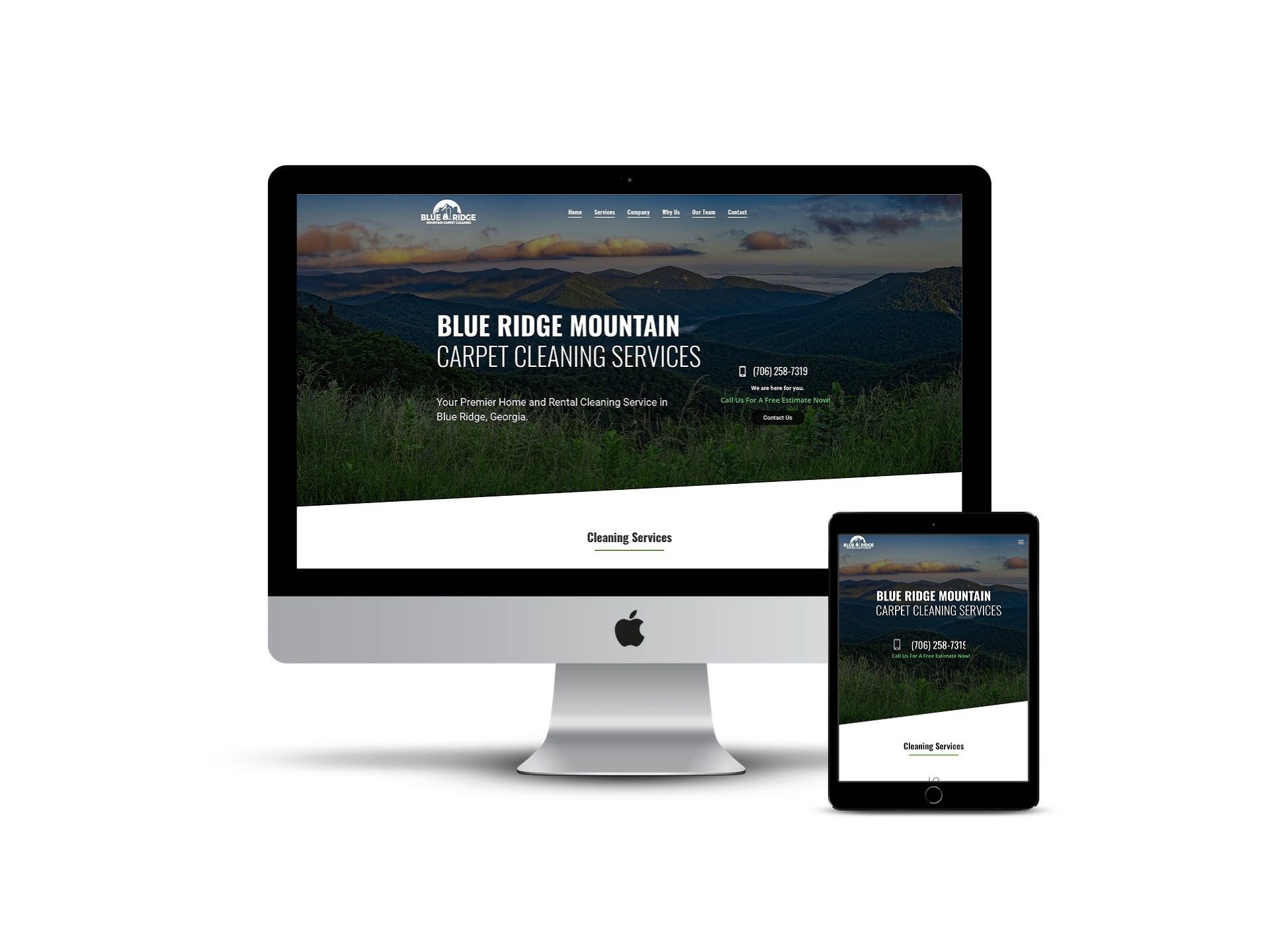 Blue Ridge Carpet Cleaners - home page on different smart screens