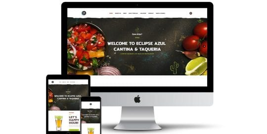 Eclipse Azul - home page on different smart screens