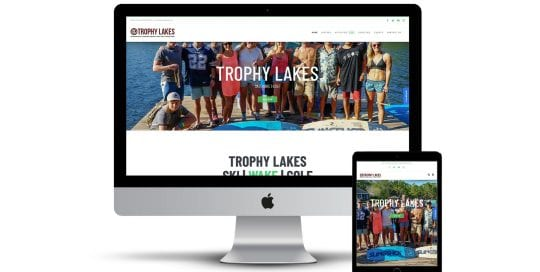 Trophy Lakes Mock Up - home page on screen and phone