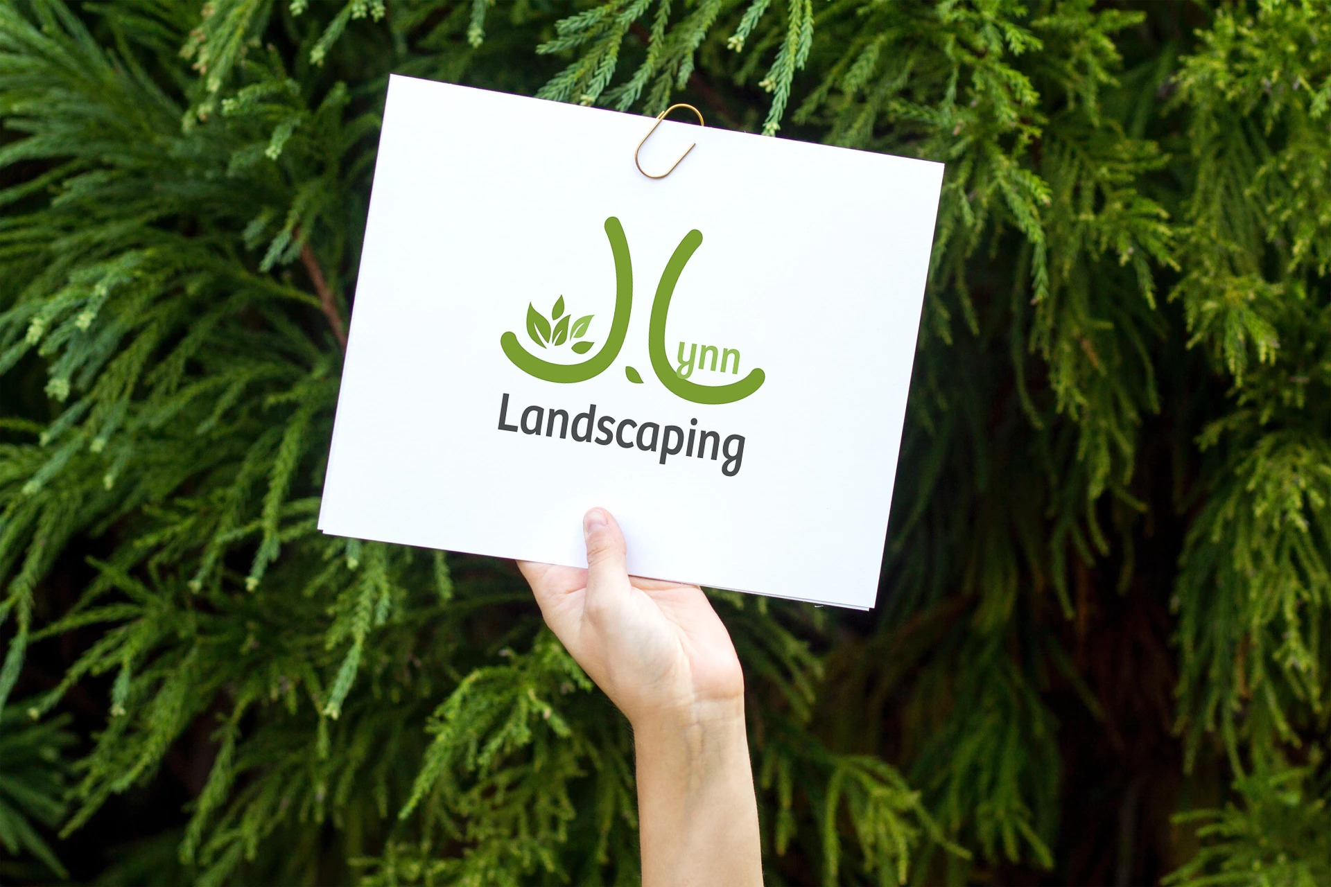 JLynn Landscaping logo on the white board