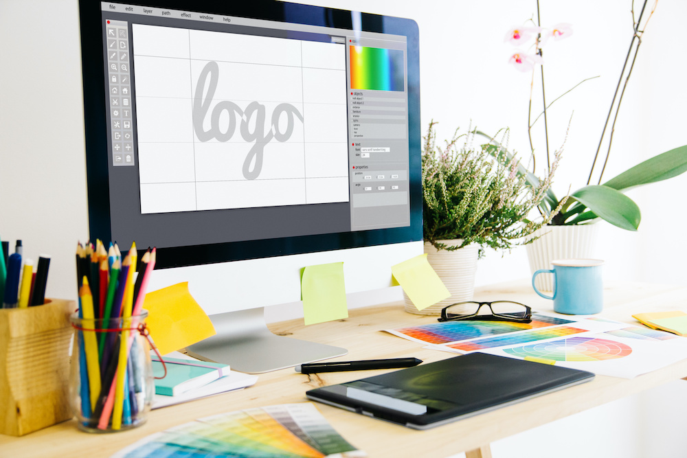 Graphic design studio desk