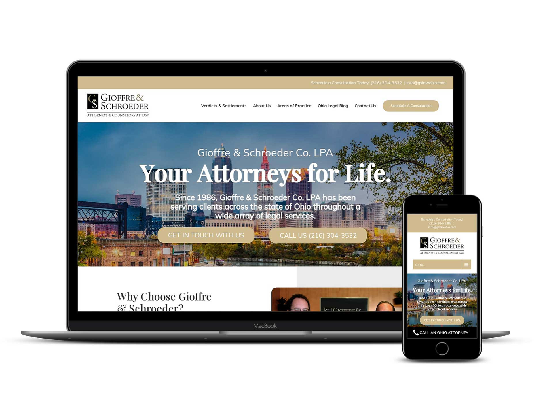 Gioffre & Schroeder Law Ohio Website Design Mobile Optimization and laptop