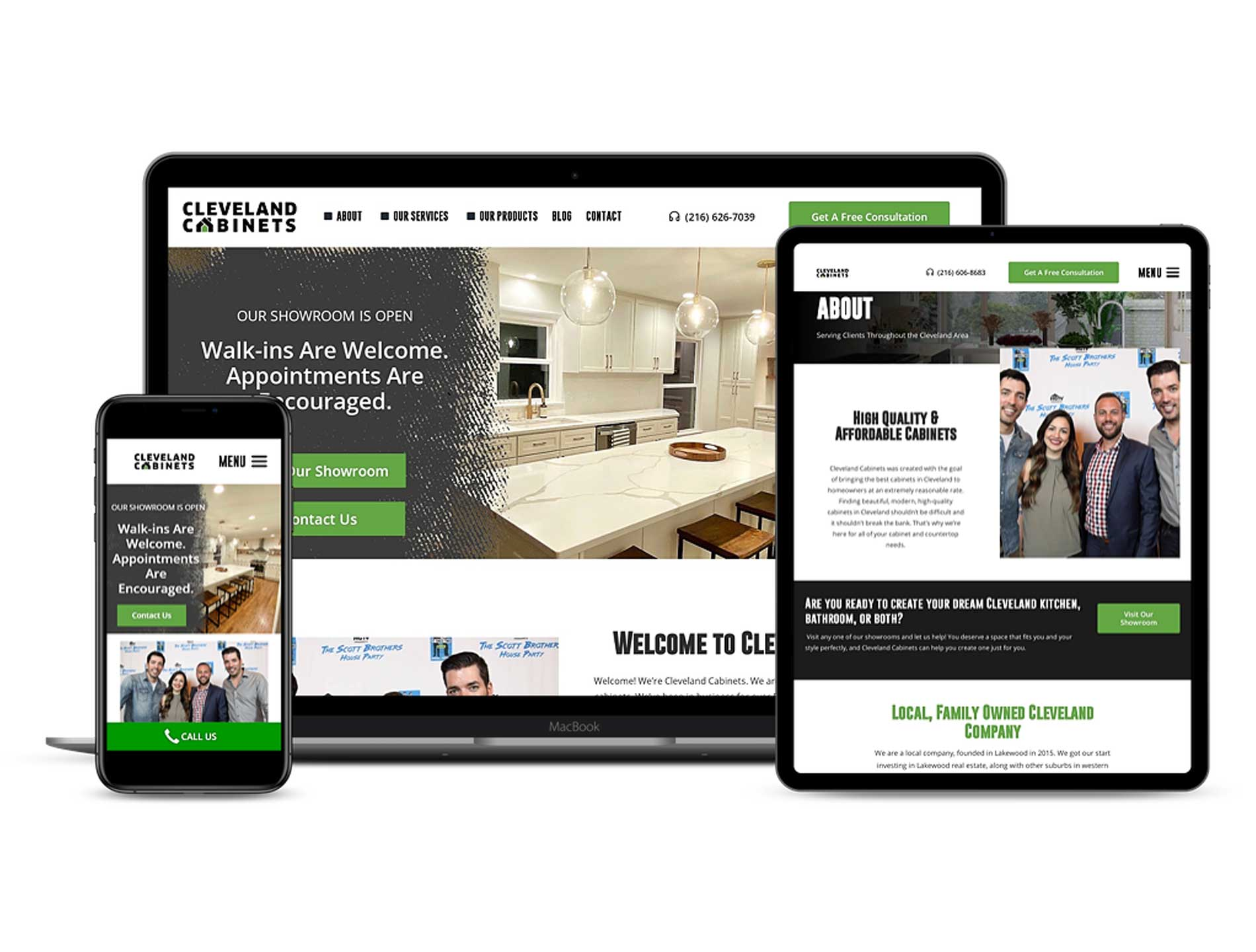 Cleveland Cabinets New Website Design Responsiveness on mobile, tablet, and laptop