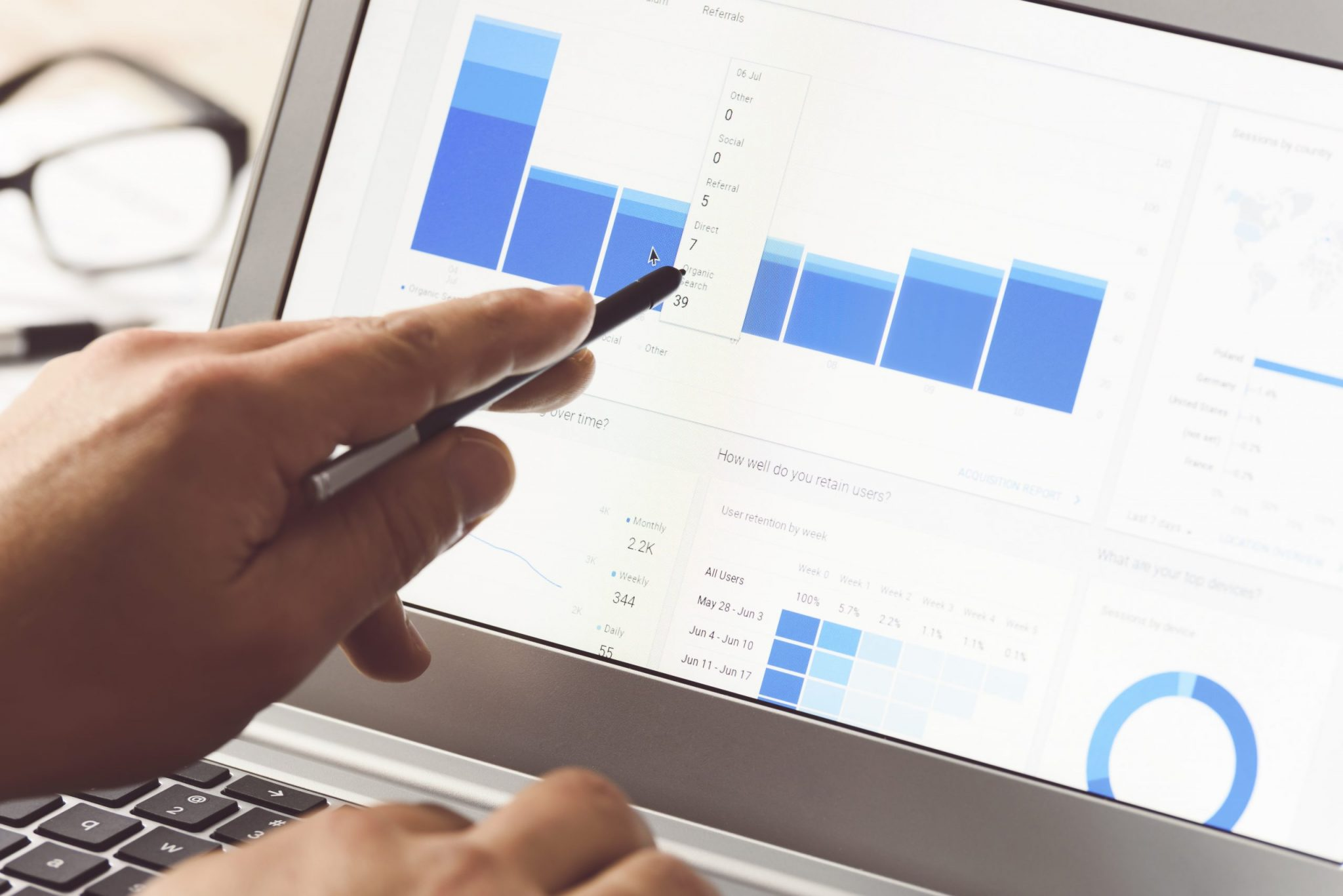 Businessman using internet analytics in the office