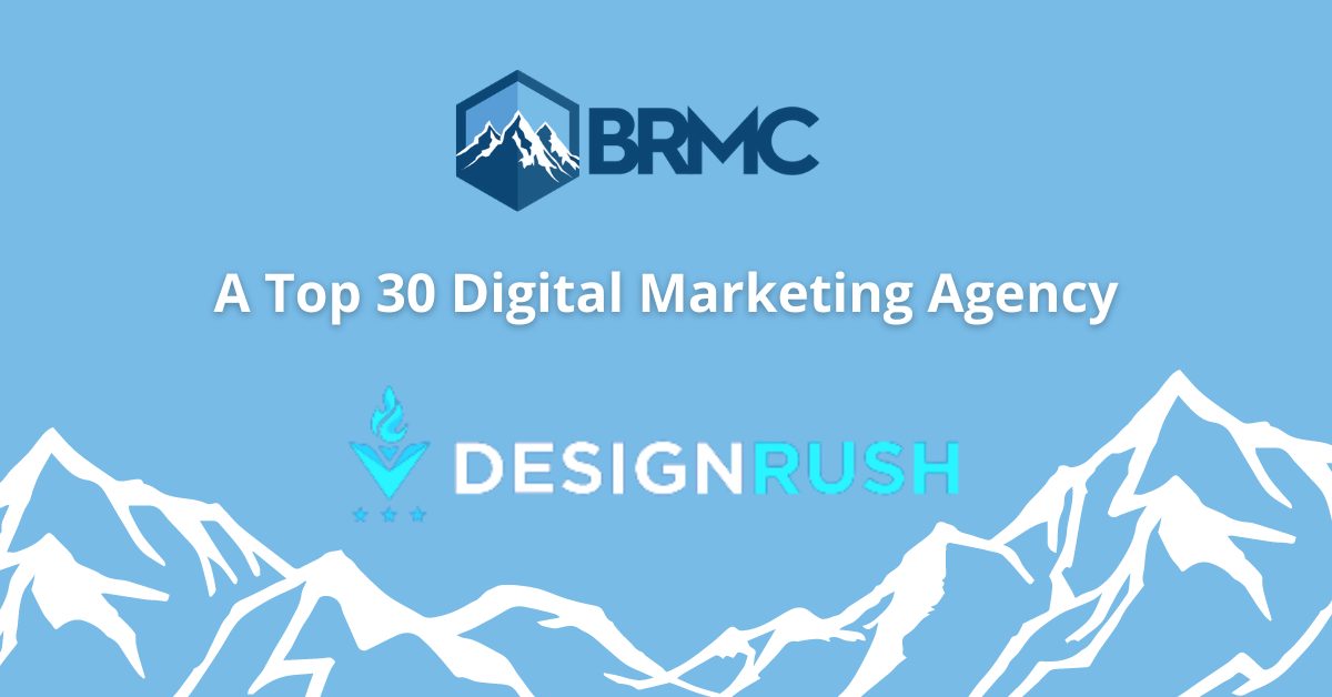 BRMC logo with mountain outlines and light blue background with Design Rush logo