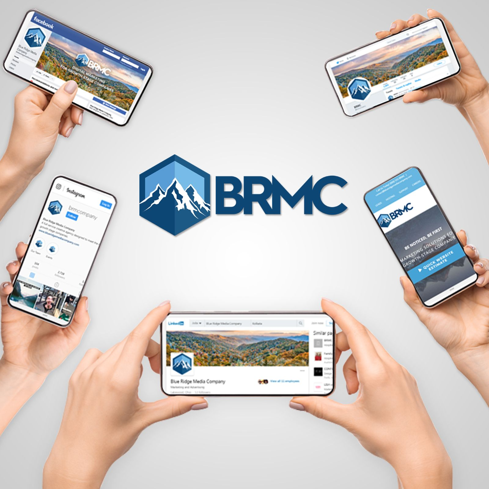 Hands holding phones showing different BRMC webpages with the BRMC logo in the center